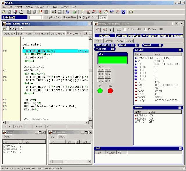 WIZ-C - PIC C Compiler Simulator and IDE